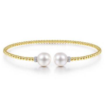 Gabriel & Co. 14k Yellow Gold Bujukan Pearl & Diamond Bangle Bracelet