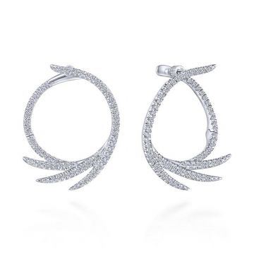 Gabriel & Co. 14k White Gold Kaslique Diamond Hoop Earrings