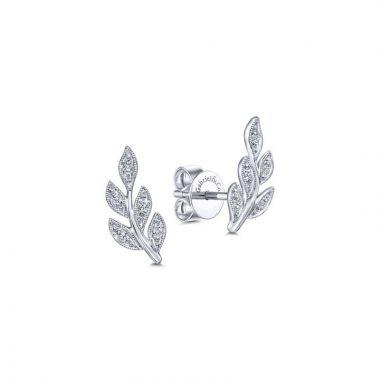 Gabriel & Co. 14k White Gold Floral Diamond Stud Earrings