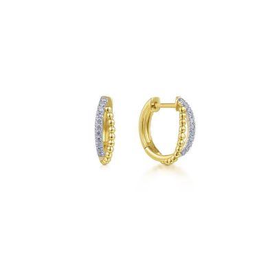 Gabriel & Co. 14k Yellow Gold Bujukan Diamond Huggie Earrings