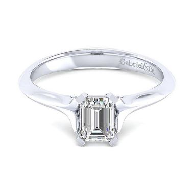 Gabriel & Co 14K White Gold Contemporary Solitaire Diamond Engagement Ring