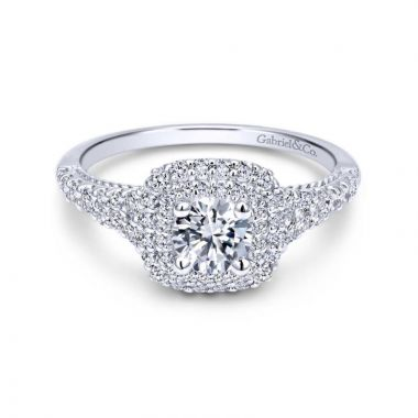 Gabriel & Co. 14k White Gold Contemporary Double Halo Engagement Ring