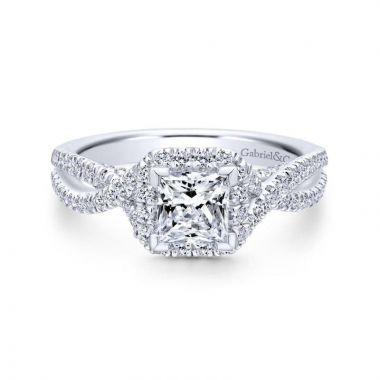 Gabriel & Co. 14k White Gold Entwined Twisted Engagement Ring