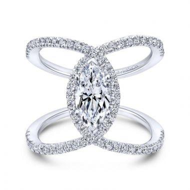 Gabriel & Co. 14k White Gold Nova Halo Engagement Ring