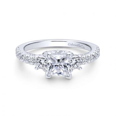 Gabriel & Co. 14k White Gold Entwined 3 Stone Engagement Ring
