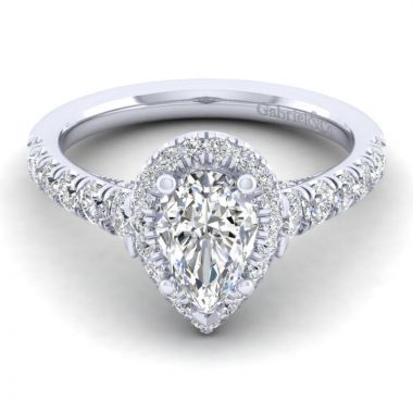 Gabriel & Co. 14k White Gold Entwined Halo Engagement Ring