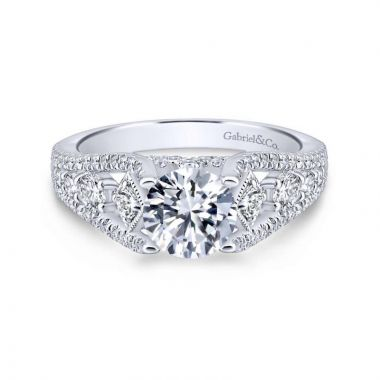 Gabriel & Co. 14k White Gold Entwined Straight Engagement Ring
