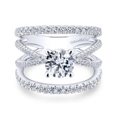 Gabriel & Co. 14k White Gold Nova Free Form Engagement Ring