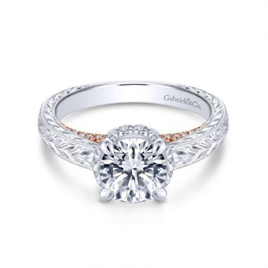 Gabriel & Co. 14k Two Tone Gold Crown Straight Engagement Ring