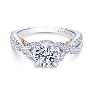 Gabriel & Co. 14k Two Tone Gold Crown Twisted Engagement Ring