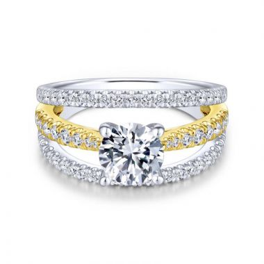 Gabriel & Co. 14k Two Tone Gold Nova Split Shank Engagement Ring