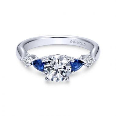 Gabriel & Co. 14k White Gold Contemporary 3 Stone Diamond & Gemstone Engagement Ring