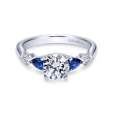 Gabriel & Co. 14k White Gold Contemporary 3 Stone Diamond & Gemstone Engagement Ring