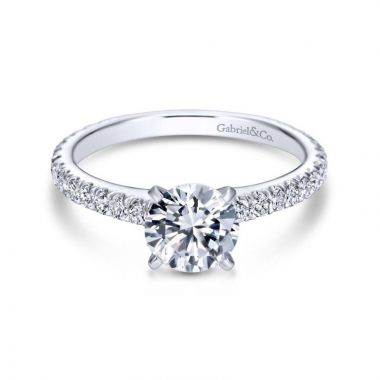 Gabriel & Co. 14k White Gold Contemporary Straight Engagement Ring