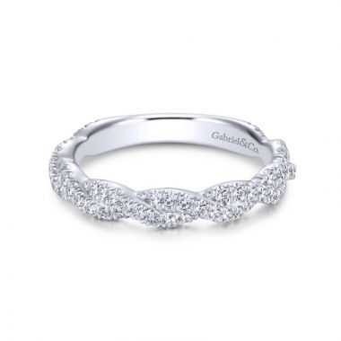 Gabriel & Co. 14k White Gold Contemporary Twist Wedding Band